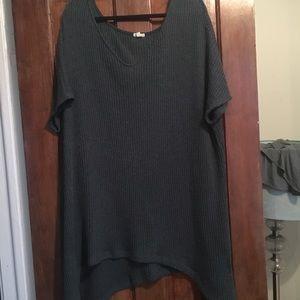 Poncho (esque) long dark green v neck sweater